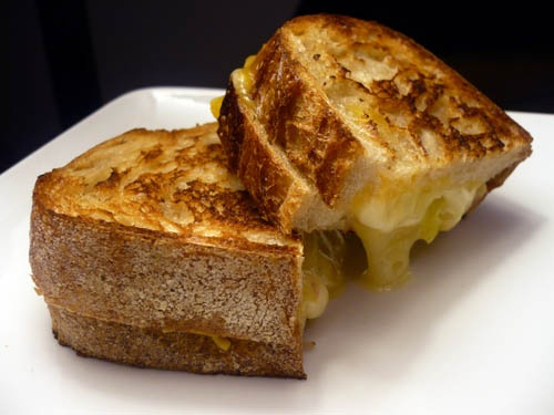 ... Sharp cheddar grilled cheese with crispy sage and apple smoked bacon
