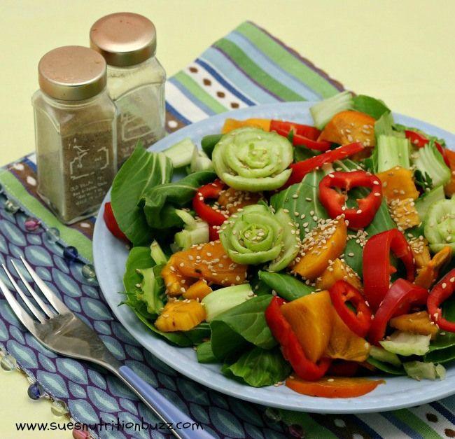 Persimmon Bok Choy Salad with Ginger Orange Sesame Dressing ! Asian ...