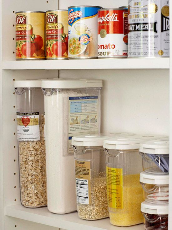 Use Clear Containers for Dry Goods. So important to keep the pantry neat and organized. You can also see how much of each item you have left so you'll know when to buy more.