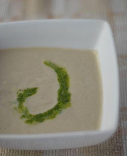 ... , nourishing roasted cauliflower soup swirled with arugula pesto