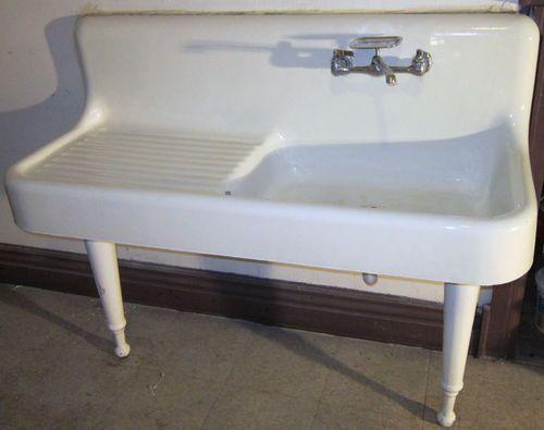 White Porcelain Farmhouse Kitchen Sink : ... CAST IRON / WHITE PORCELAIN Farmhouse Kitchen Sink w/Legs-192