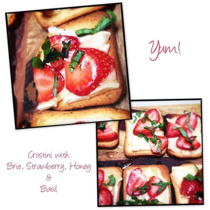 Menu Items included #1 - Crostini with Brie, Strawberry, Honey & Basil ...