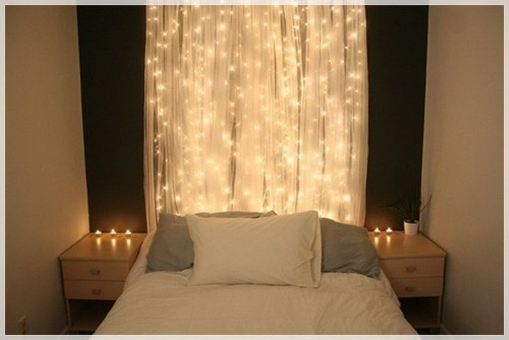 String Lights For Headboard : icicle lights and tulle make a pretty