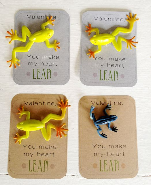 frog valentines by lullabylubbock, via Flickr - have to search but there are a bunch of free printables for candy free valentines