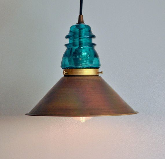 Vintage glass insulator pendant lamp with spun brass shade for Glass insulators crafts