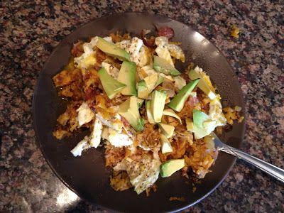 Sweet potato hash, eggs, bacon and avocado. Paleo breakfast