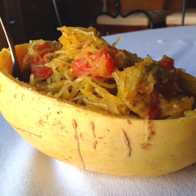 Pesto spaghetti squash with stewed tomatoes and asparagus. A new fave!