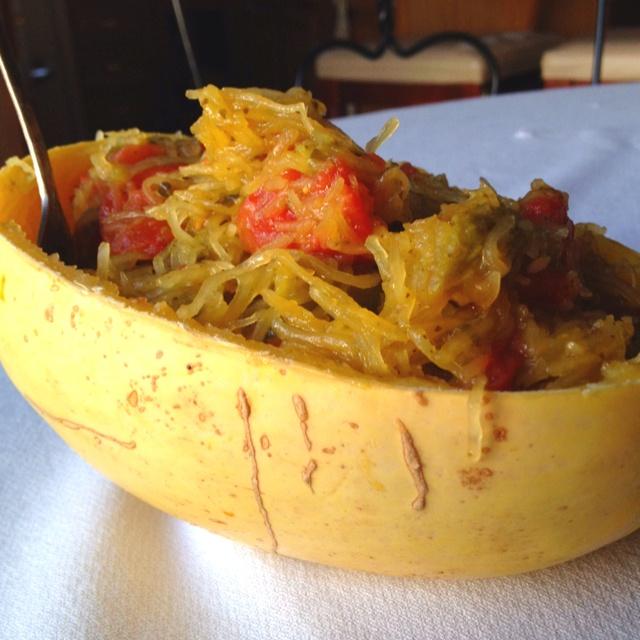 Spaghetti Squash Pesto With Tomatoes Recipe — Dishmaps
