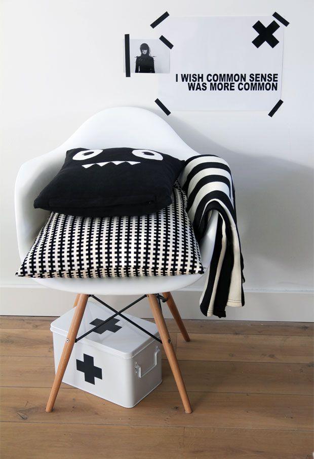 Via Dagný Stefánsdóttir | Eames Daw Chair | Black and White | Cross | Ikea Ps Pillow