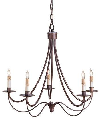 Black Wrought Iron Curved 5 Light Chandelier