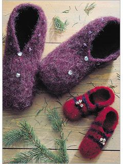 Slippers by Marcy Petrini - one of 6 Free Felted Knitting Patterns