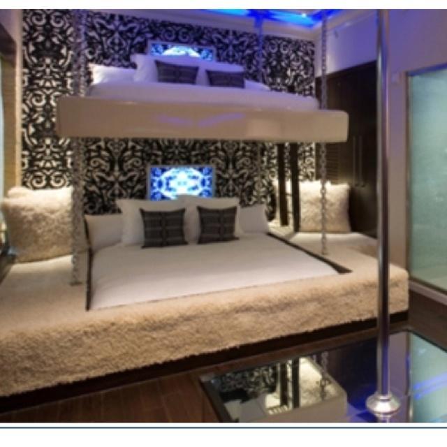 Fancy King Sized Bunk Bed Stripper Pole Optional Bunk