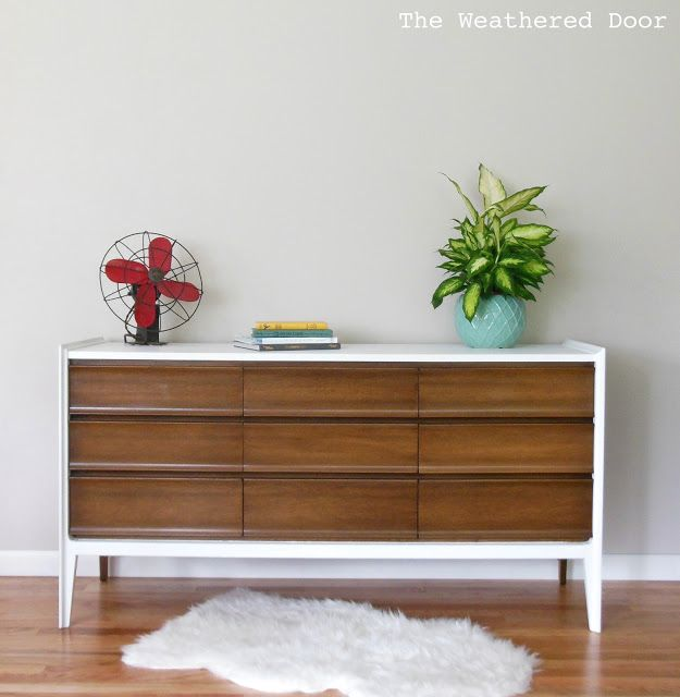 Before and After White and Walnut Mid Century Dresser