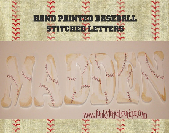 Hand Painted Boys Baseball Stitch Wooden Wall Letters by www.funkyletterboutique.com