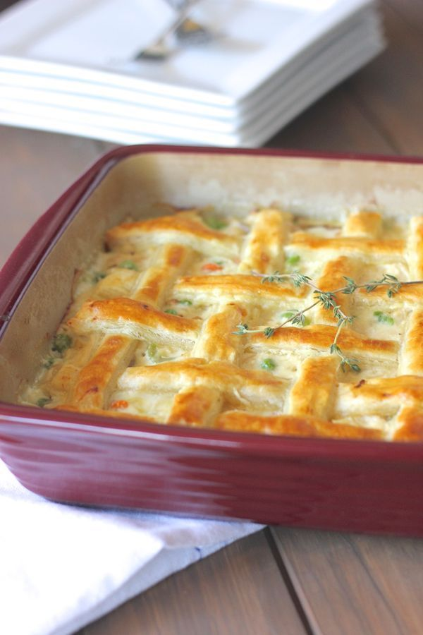 old fashioned chicken pot pie with lattice puff pastry crust