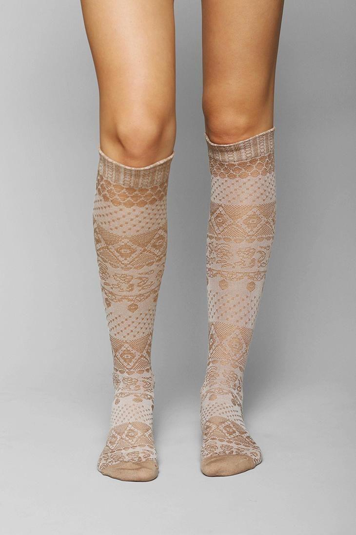 Crochet Knee High Socks : Floral Crochet Knee-High Sock #urbanoutfitters
