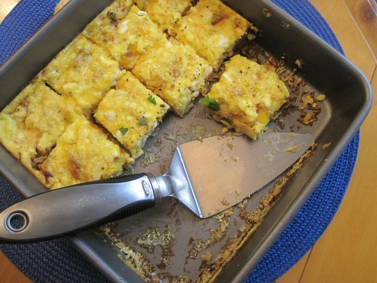 Caramelized onion and feta cheese frittata. I made this, never ate it ...