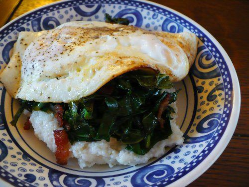 Collards over polenta with an egg on top - this was damn good. A ...