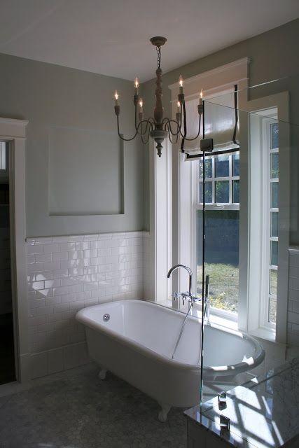 Glass shower with claw foot tub master bathroom ideas for Claw tub bathroom designs