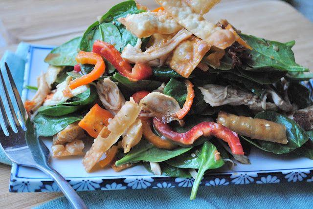Chicken Wonton Spinach Salad