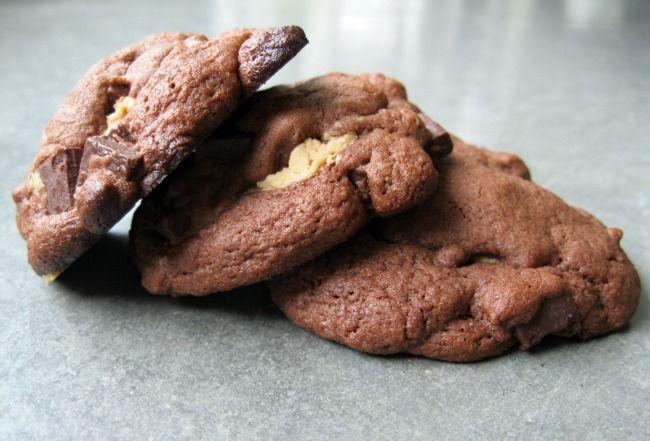 Dark Chocolate-Chocolate Chunk Peanut Butter Fudge Cookies