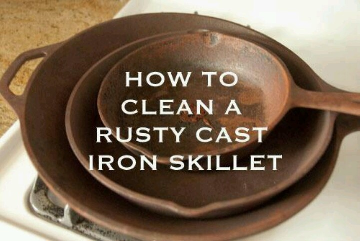 how to clean a rusty cast iron skillet cleaning pinterest. Black Bedroom Furniture Sets. Home Design Ideas