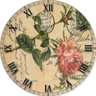Printable clock face crafts using vintage silver plated - Reloj pared vintage ...