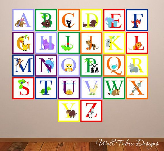 Animal alphabet wall decal childrens reusable wall decal for Alphabet wall mural