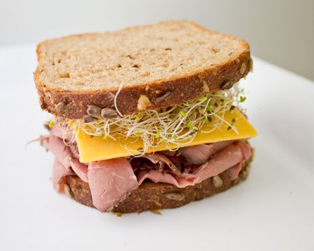 Roast Beef and Cheddar Sandwich. Try open faced for fewer calories