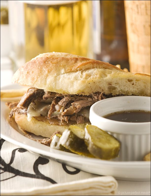 French Dip Sandwich - tender roast beef smothered with cheese on ...
