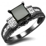 3.60ct Black Princess Cut Diamond Engagement Ring 18k Black Gold $2,150