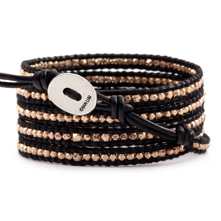 > Rose Gold Wrap Bracelet on Black Leather | Chan Luu