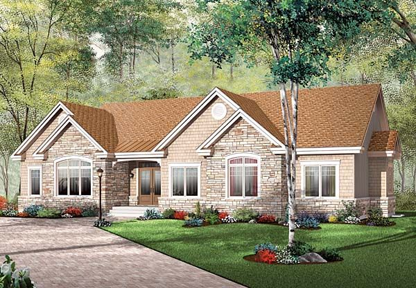 Bungalow ranch house plan 65493 for Ranch bungalow plans