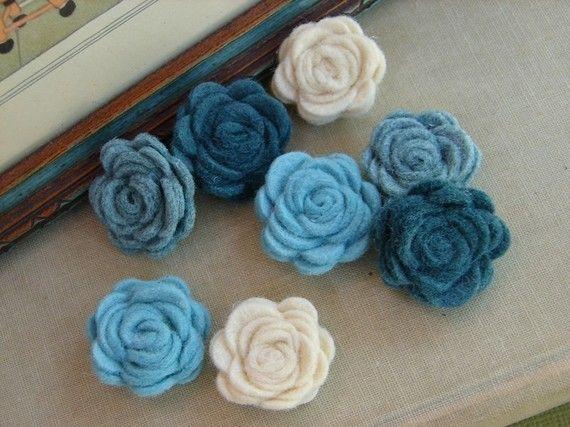 Wool Felt Aqua Blue Posies