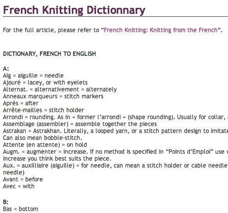 French knitting terms Knit Pinterest