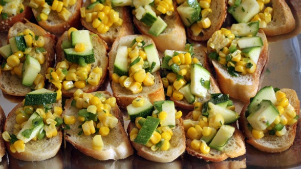 Crostini Bar: Raw Zucchini & Corn Crostini Topper - - a snappy little ...