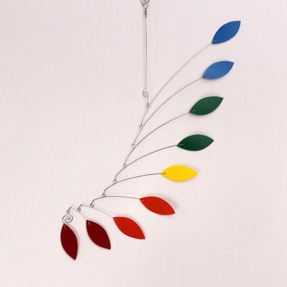Calder Inspired Baby Mobile Sculpture - Rainbow Hanging ...