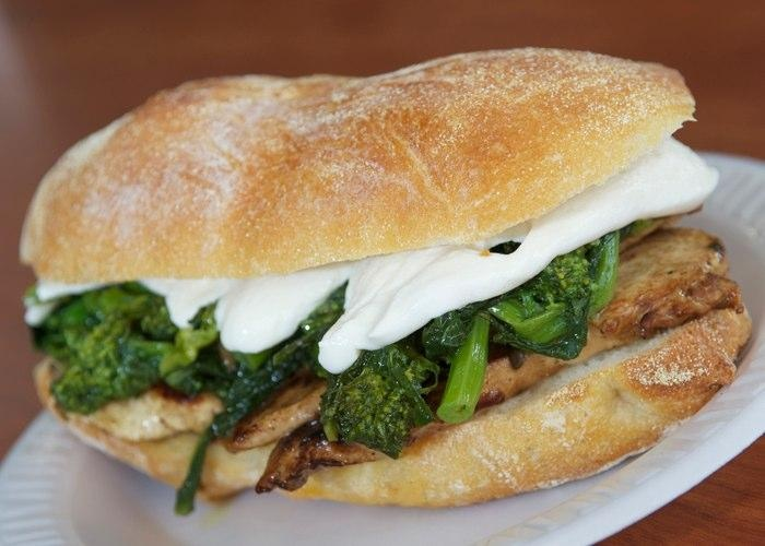 Broccoli Rabe, Pear, And Fontina Sandwich Recipe — Dishmaps