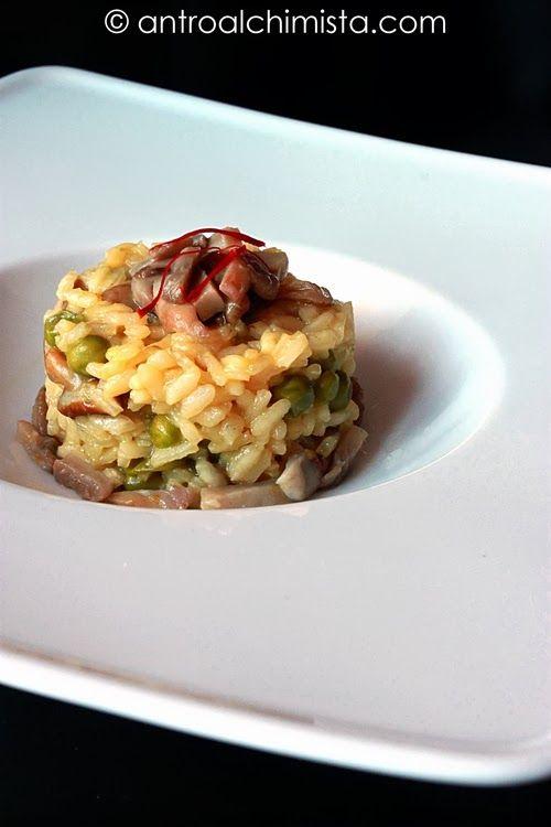 ... Funghi Piselli e Zafferano - Risotto with Mushrooms, Peas and Saffron