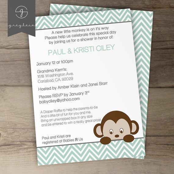 monkey baby shower invitations chevron diy printable by greylein