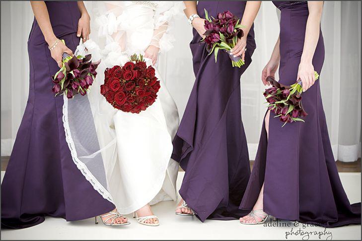 Deep Purple Wedding Dresses : Deep purple bridesmaid dresses with tulip bouquets