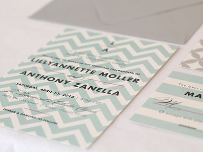 Teal chevron wedding invitations