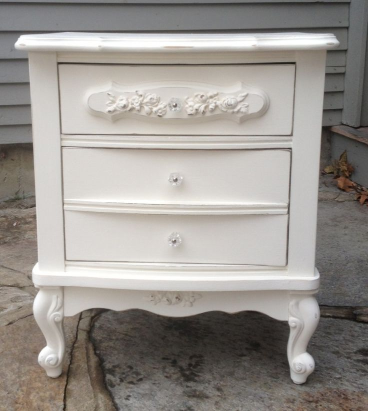 shabby chic white nightstand. Black Bedroom Furniture Sets. Home Design Ideas