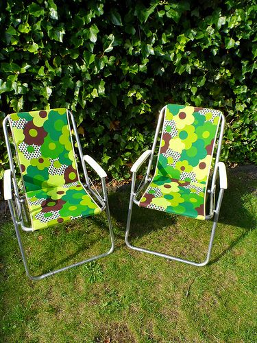 DON't forget to pack fold up chairs! check the garage for those lightweight beach chairs!! Vintage camping chairs
