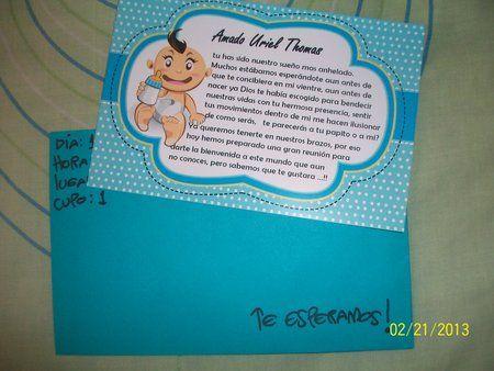 Invitaciónes baby shower hechas a mano niño - Imagui