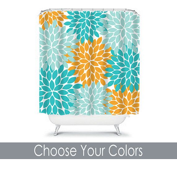 Aqua And Brown Shower Curtain Orange and Teal Curtains