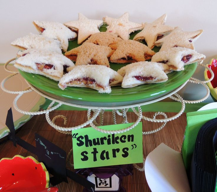 "Shuriken Stars""--PB & J cut with a star-shaped cookie cutter. Perfec..."