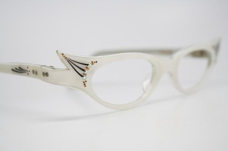 Cat Eye Rhinestone Eyeglass Frames : cat eye glasses vintage rhinestone cateye frames NOS