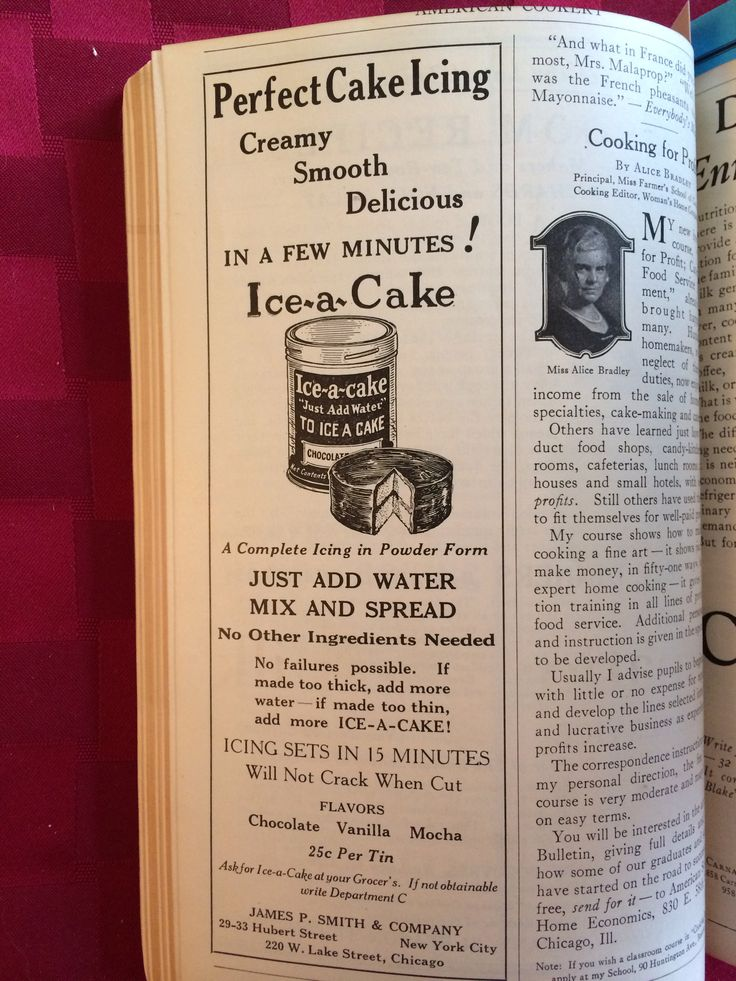 Ice-a-Cake icig mix advertised in American Cookery August-Sept. 1925 p.148