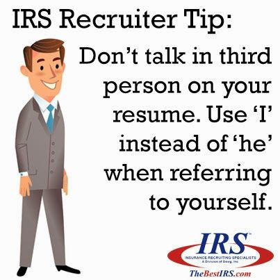 Don use 1st 2nd or 3rd person references resume